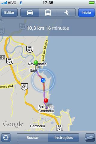 Google Maps - Itajaí > Balneário Camboriú