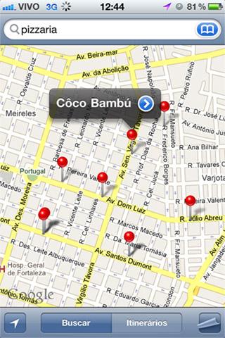 Maps - Pizzarias no centro de Fortaleza