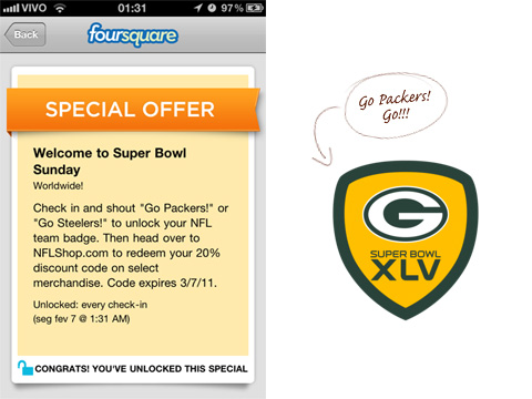 Foursquare no Super Bowl - Go Packers!