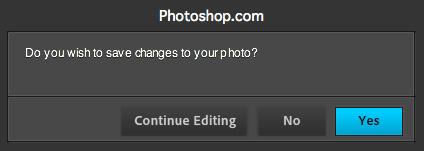 Photoshop Express - Confirmar alterações...