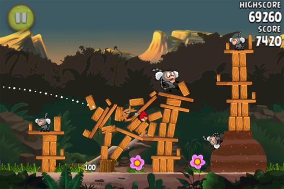 Angry Birds Rio - iPhone - Queda dos macacos...