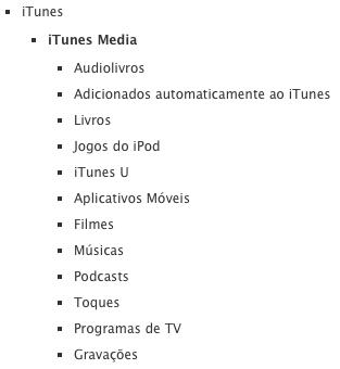 Estrutura de arquivos da pasta iTunes Media